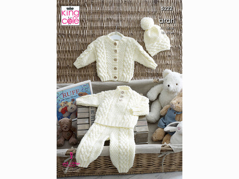 Sweater, Cardigan, Trousers and Hat in King Cole Aran (5222K)