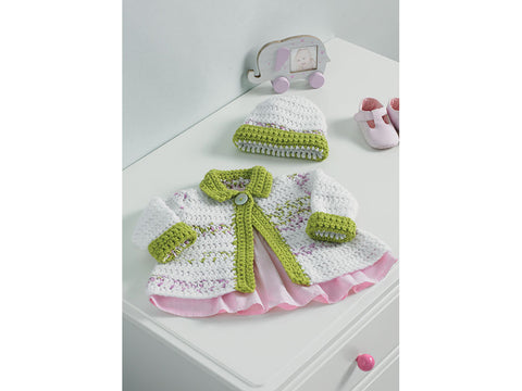 Baby Girl's Jacket and Hat Crochet Kit and Pattern in Hayfield Yarn (5233)