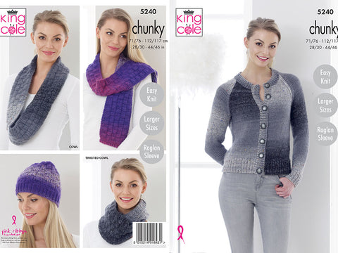 Cardigan, Hat, Cowls and Scarf in King Cole Twirly Tweed Chunky (5240)