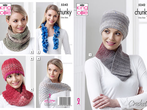 Hat, Scarf, Shawl and Neck Roll Crochet Kit and Pattern in King Cole Yarn (5242)