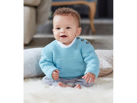 Baby Boys Sweater in Sirdar Snuggly Baby Cashmere Merino DK (5244)