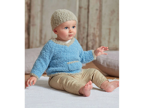 Baby Boy's V-Neck Sweater and Hat in Sirdar Snuggly Bouclette (5256S)