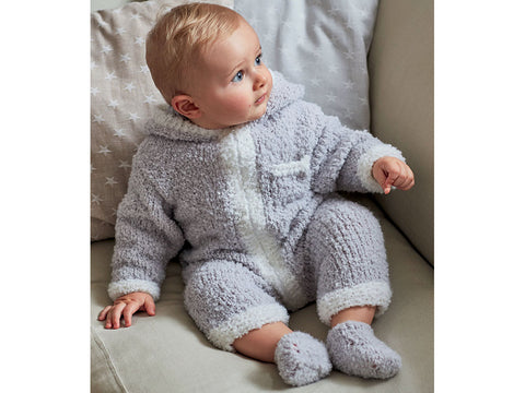 Hooded Onesie & Booties in Sirdar Snuggly Bouclette (5259)