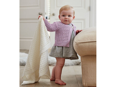 Girl's Cardigan & Blanket in Sirdar Snuggly 100% Merino 4ply (5260S)