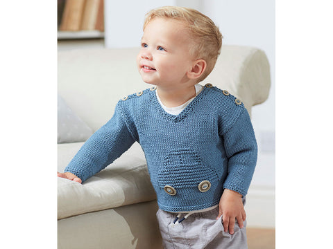 Boys Car Jumper in Sirdar Snuggly 100% Cotton DK (5268S)