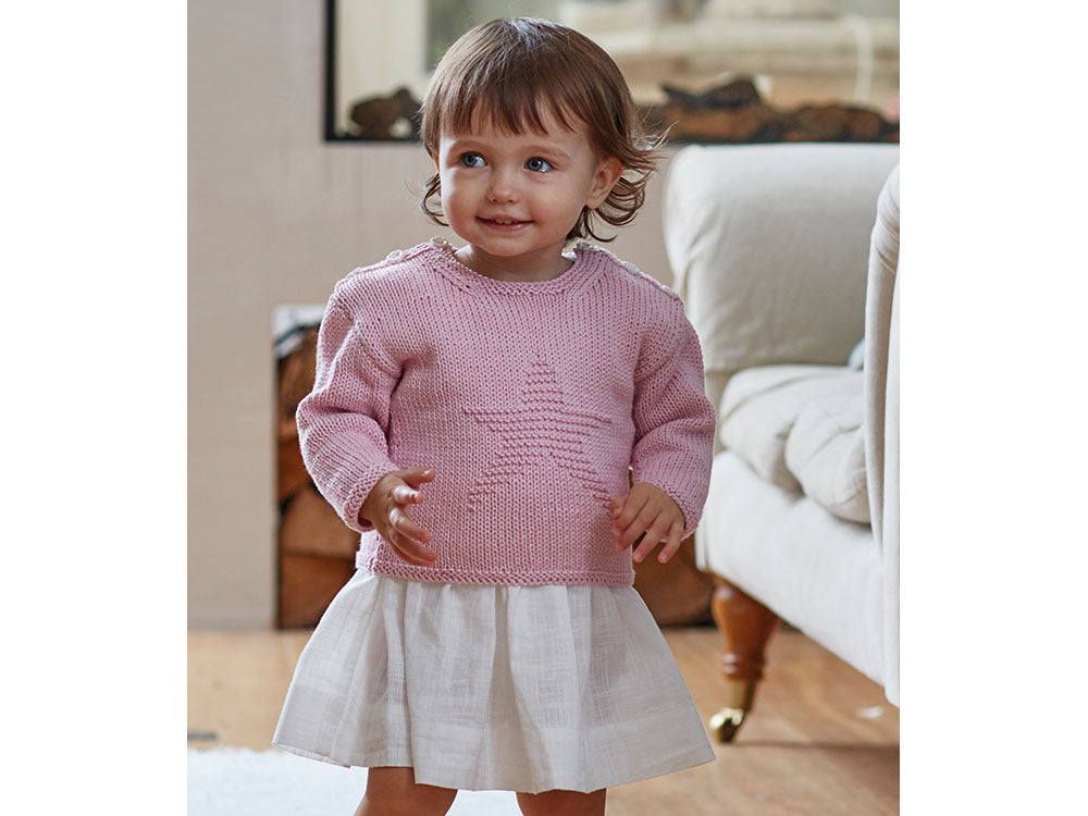 Girls Star Jumper In Sirdar Snuggly 100 Cotton 5269