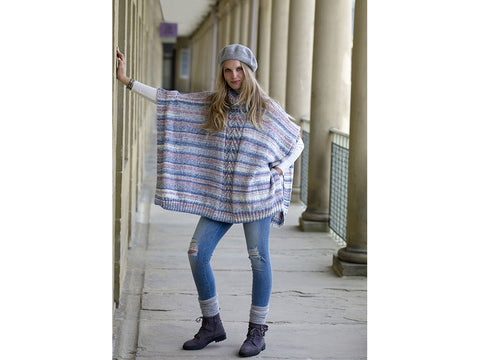 Ladies Ponchos in King Cole Drifter Aran (5271K)