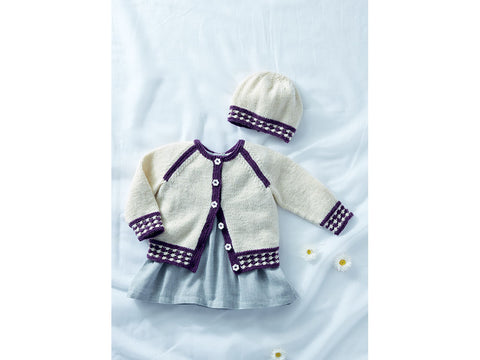 Baby Girl's Cardigan and Hat In Sirdar Snuggly DK (5288S)