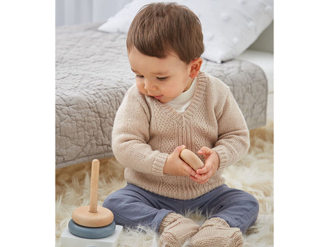 Baby's V Neck Sweater and Bootees in Sirdar Snuggly 100% Merino 4 Ply (5302S)