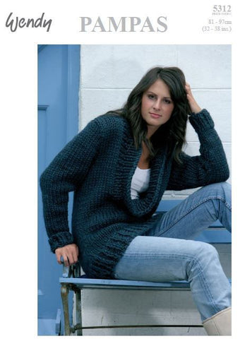 Cowl Neck Sweater in Wendy Pampas (5312) Digital Version-Deramores