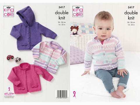 Babies Cardigans Knitting Kit and Pattern in King Cole Cherish DK & King Cole Cherished DK Yarn (5417K)