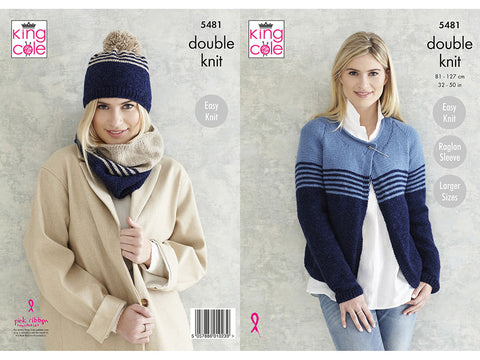 Ladies Cardigan, Snood & Hat in King Cole Subtle Drifter DK (5481K)
