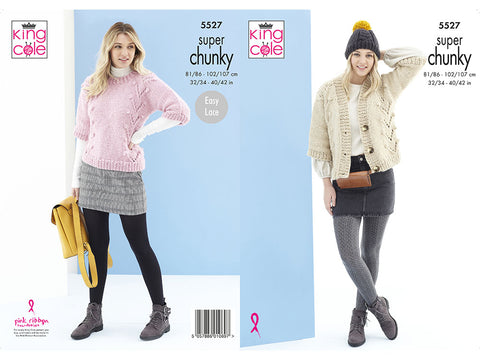 Sweater, Cardigan & Hat in King Cole Timeless Super Chunky (5527K)