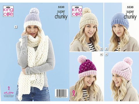 Hats & Scarf in King Cole Timeless Super Chunky (5530K)