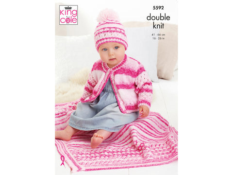 Cardigan, Hat & Blanket Knitting Kit and Pattern in King Cole Stripe DK Yarn (5592K)