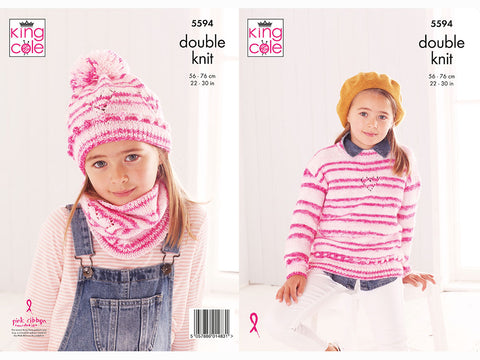 Sweater, Snood & Hat in King Cole Stripe DK Yarn (5594K) Knitting Kit and Pattern