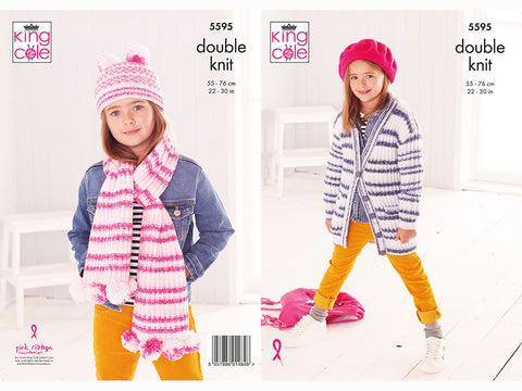 Jacket, Scarf & Hat Knitting Kit and Pattern in King Cole Yarn (5595K)