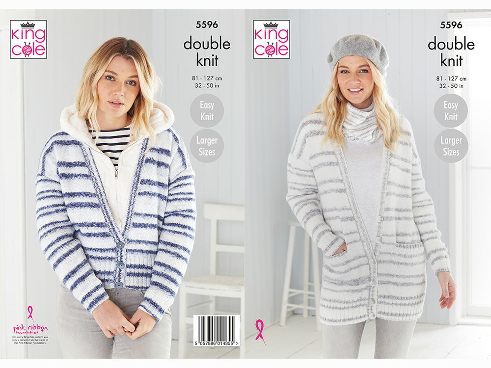 Cardigans and Snood in King Cole Stripe DK (5596K) Knitting Kit and Pattern