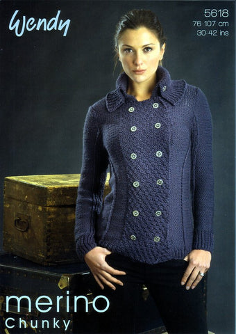 Cowl Neck Tunics in Wendy Merino Chunky (5618)-Deramores
