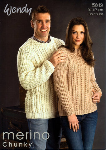 His and Her Sweater in Wendy Merino Chunky (5619)-Deramores