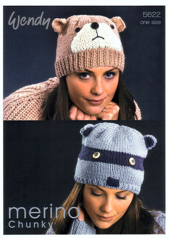 Bear Beanie and Raccoon Hat in Wendy Merino Chunky (5622)-Deramores