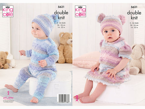 Baby Set Knitting Kit and Pattern in King Cole DK Yarn (5631K)
