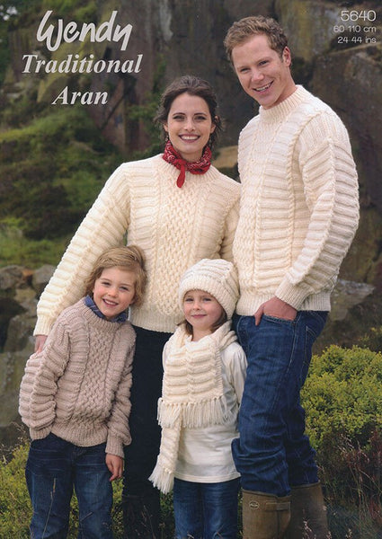 Family Sweaters, Hat and Scarf in Wendy Aran with Wool (5640w)-Deramores