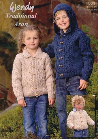 Children's Jackets and Hat in Wendy Traditional Aran (5641w)-Deramores