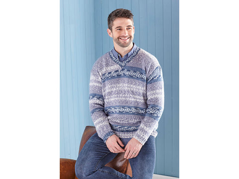 Mens Sweater & Tank Top Knitting Kit and Pattern in King Cole Fjord DK Yarn (5651)