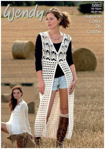 Crochet Waistcoats in Wendy Cotton DK (5663) Digital Version-Deramores
