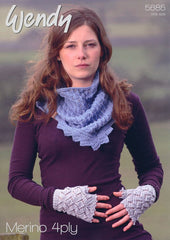 Lacy Triangular Scarf and Fingerless Mitts in Wendy Merino 4 Ply (5685)