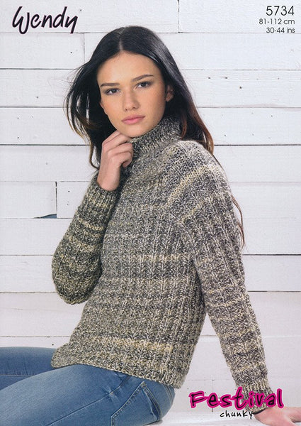 Mock Fishermans Rib Sweater in Wendy Festival (5734)