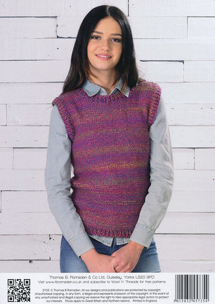 Dipped Hem Sweater and Sweater Vest in Wendy Festival (5735)-Deramores
