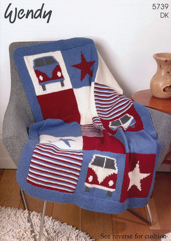 Campervan Blanket and Cushion In Wendy (5739)-Deramores