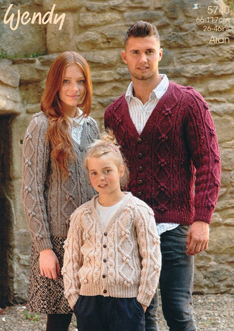 Family Cardigan in Wendy Aran (5740)-Deramores