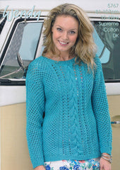 Mesh and Cable Sweater in Wendy Supreme Cotton DK (5767w)