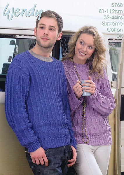 His and Hers Textured Sweater in Wendy Supreme Cotton DK (5768w)-Deramores