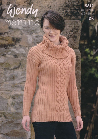 Cable and Rib, Polo and Cowl Neck Sweaters in Wendy Merino DK (5812)-Deramores