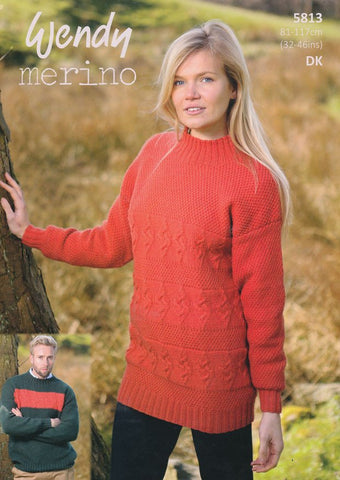 Unisex Textured Sweaters in Wendy Merino DK (5813)