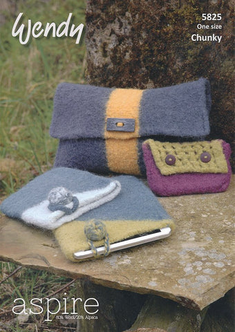 Felted Accessories, Clutch Bag, Purse and Table Cover in Wendy Aspire Chunky (5825)-Deramores