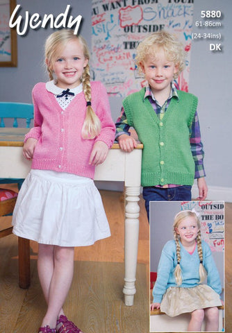 Child's V-neck Sweater, Cardigan & Waistcoat in Wendy Supreme Luxury Cotton DK (5880)-Deramores