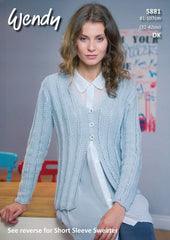 Short Sleeve Sweater and Cardigan in Wendy Supreme Luxury Cotton DK (5881)