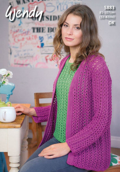 Loose Fitting Cardigan and Top in Wendy Supreme Luxury Cotton DK (5883)-Deramores