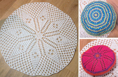 Crochet Rug, Floor Cushion and Scatter Cushion in Wendy Supreme Luxury Cotton Chunky (5890)