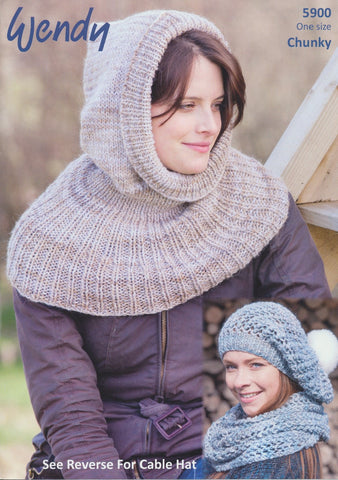 Hooded Cowl, Open Stitch Hat, Neck Warmer and Cable Hat in Wendy Evolve Chunky and Wendy Merino Chunky (5900)-Deramores