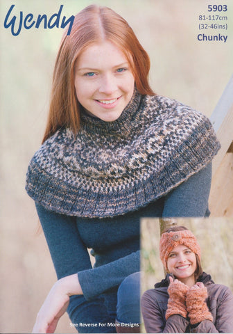 Fairisle Neck Warmer, Hat, Headband, Wrist Warmers and Cowl in Wendy Evolve Chunky (5903)-Deramores