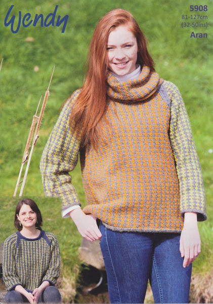 Cowl Tunic and Sweater in Wendy Cairn Aran (5908)
