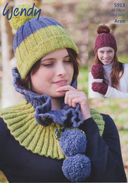 Hat, Mitts, Two Tone Hat and Cowl in Wendy Cairn Aran (5913)-Deramores