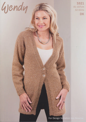 Deep V Neck Cardigan in Wendy Celeste DK (5921)-Deramores