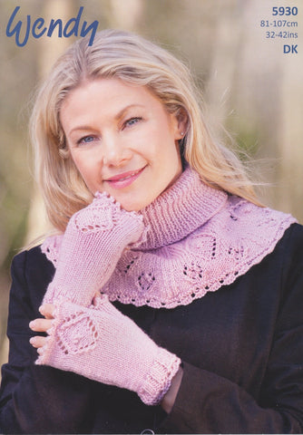 Lace Pattern Neck Warmer and Fingerless Mitts in Wendy Merino DK (5930)-Deramores